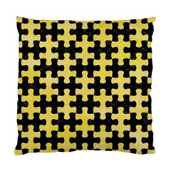 Puzzle1 Black Marble & Yellow Watercolor Standard Cushion Case (two Sides)