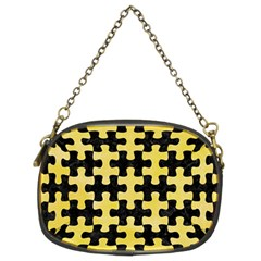 Puzzle1 Black Marble & Yellow Watercolor Chain Purses (two Sides)