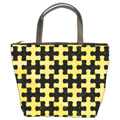 Puzzle1 Black Marble & Yellow Watercolor Bucket Bags
