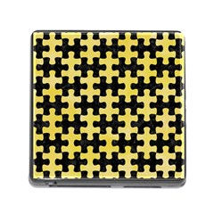 Puzzle1 Black Marble & Yellow Watercolor Memory Card Reader (square)