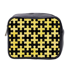 Puzzle1 Black Marble & Yellow Watercolor Mini Toiletries Bag 2 Side