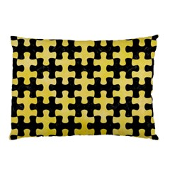 Puzzle1 Black Marble & Yellow Watercolor Pillow Case (two Sides)