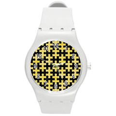 Puzzle1 Black Marble & Yellow Watercolor Round Plastic Sport Watch (m)