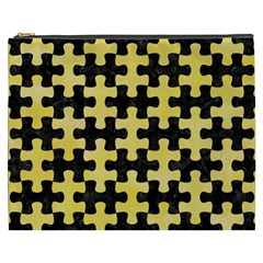 Puzzle1 Black Marble & Yellow Watercolor Cosmetic Bag (xxxl)