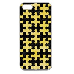 Puzzle1 Black Marble & Yellow Watercolor Apple Seamless Iphone 5 Case (clear)