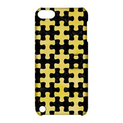 Puzzle1 Black Marble & Yellow Watercolor Apple Ipod Touch 5 Hardshell Case With Stand