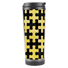 Puzzle1 Black Marble & Yellow Watercolor Travel Tumbler