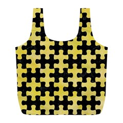 Puzzle1 Black Marble & Yellow Watercolor Full Print Recycle Bags (l)