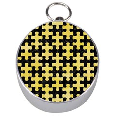 Puzzle1 Black Marble & Yellow Watercolor Silver Compasses