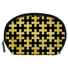 Puzzle1 Black Marble & Yellow Watercolor Accessory Pouches (large)