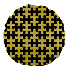 Puzzle1 Black Marble & Yellow Watercolor Large 18  Premium Flano Round Cushions