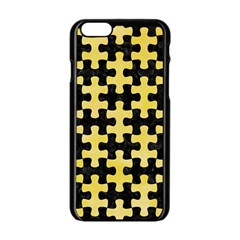 Puzzle1 Black Marble & Yellow Watercolor Apple Iphone 6/6s Black Enamel Case