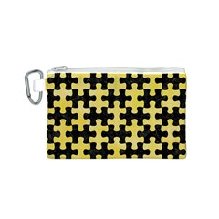 Puzzle1 Black Marble & Yellow Watercolor Canvas Cosmetic Bag (s)