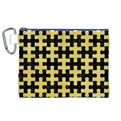 Puzzle1 Black Marble & Yellow Watercolor Canvas Cosmetic Bag (xl)
