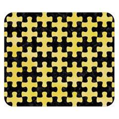 Puzzle1 Black Marble & Yellow Watercolor Double Sided Flano Blanket (small)