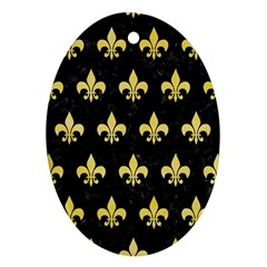 Royal1 Black Marble & Yellow Watercolor Ornament (oval)