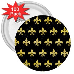 Royal1 Black Marble & Yellow Watercolor 3  Buttons (100 Pack)