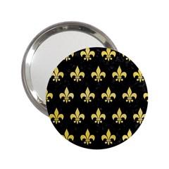 Royal1 Black Marble & Yellow Watercolor 2 25  Handbag Mirrors