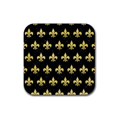 Royal1 Black Marble & Yellow Watercolor Rubber Coaster (square)