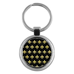 Royal1 Black Marble & Yellow Watercolor Key Chains (round)