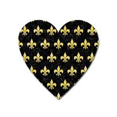 Royal1 Black Marble & Yellow Watercolor Heart Magnet