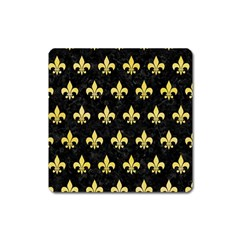 Royal1 Black Marble & Yellow Watercolor Square Magnet