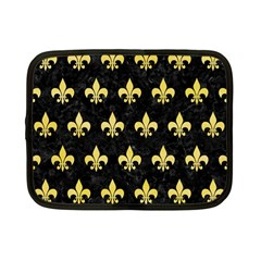 Royal1 Black Marble & Yellow Watercolor Netbook Case (small)