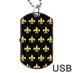 Royal1 Black Marble & Yellow Watercolor Dog Tag Usb Flash (one Side)