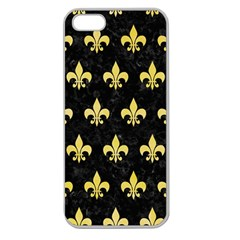 Royal1 Black Marble & Yellow Watercolor Apple Seamless Iphone 5 Case (clear)
