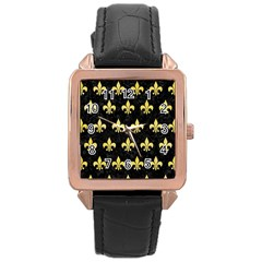 Royal1 Black Marble & Yellow Watercolor Rose Gold Leather Watch