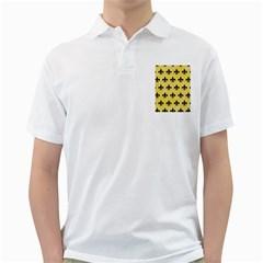 Royal1 Black Marble & Yellow Watercolor (r) Golf Shirts