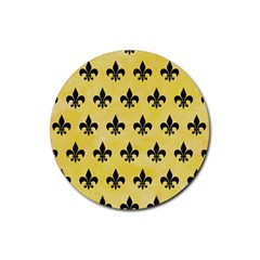 Royal1 Black Marble & Yellow Watercolor (r) Rubber Coaster (round)