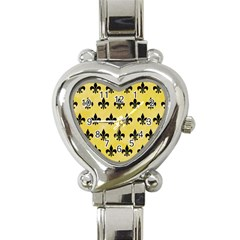 Royal1 Black Marble & Yellow Watercolor (r) Heart Italian Charm Watch