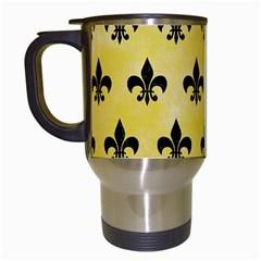 Royal1 Black Marble & Yellow Watercolor (r) Travel Mugs (white)