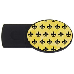Royal1 Black Marble & Yellow Watercolor (r) Usb Flash Drive Oval (4 Gb)