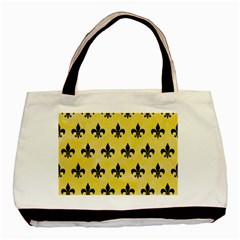 Royal1 Black Marble & Yellow Watercolor (r) Basic Tote Bag (two Sides)