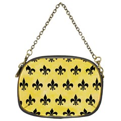 Royal1 Black Marble & Yellow Watercolor (r) Chain Purses (one Side)