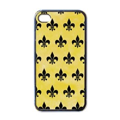 Royal1 Black Marble & Yellow Watercolor (r) Apple Iphone 4 Case (black)