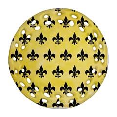 Royal1 Black Marble & Yellow Watercolor (r) Ornament (round Filigree)