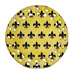 Royal1 Black Marble & Yellow Watercolor (r) Round Filigree Ornament (two Sides)