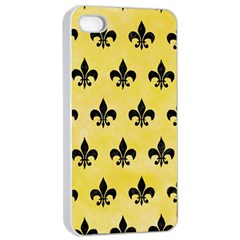 Royal1 Black Marble & Yellow Watercolor (r) Apple Iphone 4/4s Seamless Case (white)