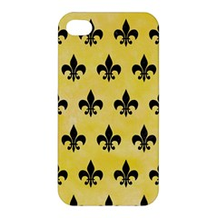 Royal1 Black Marble & Yellow Watercolor (r) Apple Iphone 4/4s Hardshell Case
