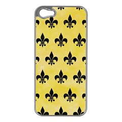 Royal1 Black Marble & Yellow Watercolor (r) Apple Iphone 5 Case (silver)