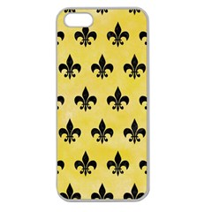 Royal1 Black Marble & Yellow Watercolor (r) Apple Seamless Iphone 5 Case (clear)