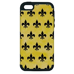 Royal1 Black Marble & Yellow Watercolor (r) Apple Iphone 5 Hardshell Case (pc+silicone)