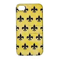 Royal1 Black Marble & Yellow Watercolor (r) Apple Iphone 4/4s Hardshell Case With Stand