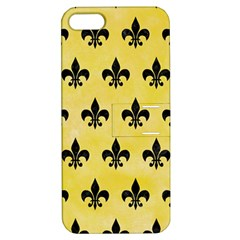 Royal1 Black Marble & Yellow Watercolor (r) Apple Iphone 5 Hardshell Case With Stand
