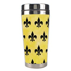 Royal1 Black Marble & Yellow Watercolor (r) Stainless Steel Travel Tumblers