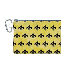 Royal1 Black Marble & Yellow Watercolor (r) Canvas Cosmetic Bag (m)