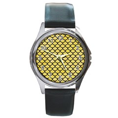 Scales1 Black Marble & Yellow Watercolor Round Metal Watch